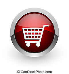shopping cart red circle web glossy icon