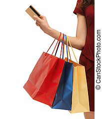 picture of woman with shopping bags - closeup or picture of...