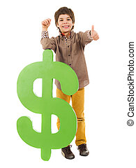Boy Holding Dollar Sign Showing Thumb Up Sign