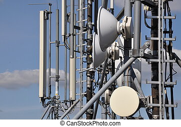 Cellular communications system on a steel tower