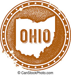 Vintage Ohio USA State Stamp - Vintage style distressed Ohio...