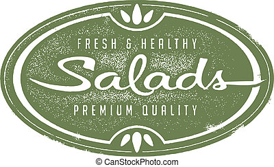 Fresh Healthy Salads - Vintage style stamp image with fresh...