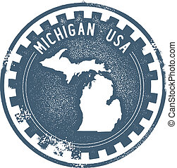 Vintage Michigan USA State Stamp - Vintage style stamp...