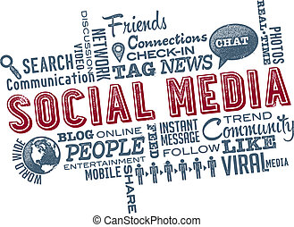 Social Media Icons and Word Cloud - Social Media phrases and...