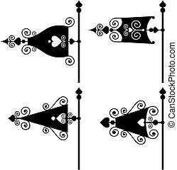 set of vanes - set of vector silhouettes of weather vanes