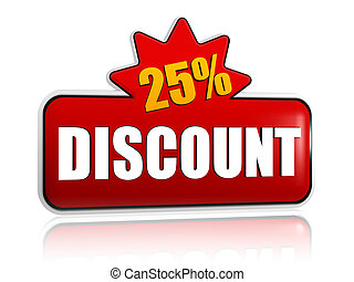 25 percentages discount 3d red banner with star - 25...