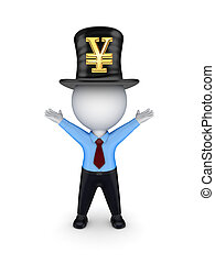 Green top-hat with symbol of Yen.