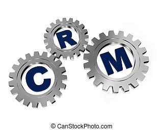 CRM in silver grey gears - CRM, customer relationship...