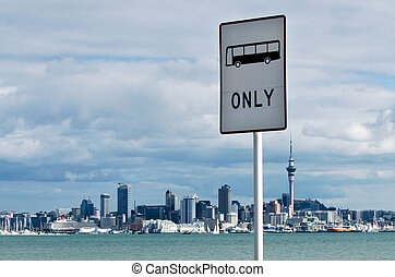 Bus Lane Sign - A bus Lane sign in Auckland, New Zealand