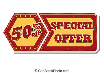 50 percentages off special offer - retro label - 50...
