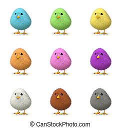 Fluffy Colorful Chicks - Fluffy colorful chicks isolated on...