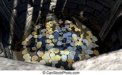 Wishing Well With Coins Perspective - A top view looking...