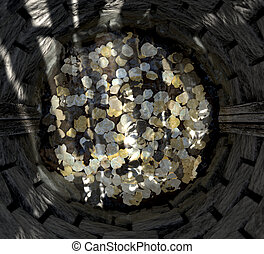 Wishing Well With Coins Top - A top view looking into a...