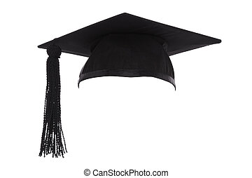 mortero, tabla, graduación, gorra, aislado, blanco