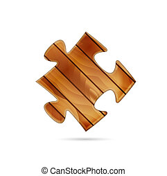 wooden puzzle piece - Isolated puzzle piece made out of wood