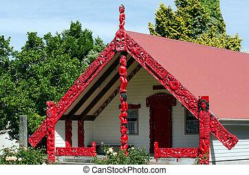 Maori Marae - Meeting House - Carved maori marae - meeting...