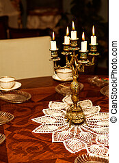 candlestick with five candles - Retro golden candlestick...