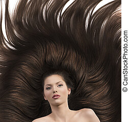girl with long brown hair and nude shoulders - pretty...