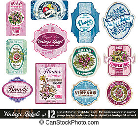 Vintage Labels Collection - Set 12 - Vintage Labels...