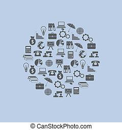 economy icons in circle