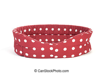 Red spotted pet bed - Red spotted empty pet bed