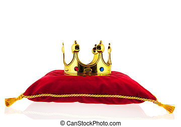 Golden crown on velvet pillow - Golden crown on red velvet...