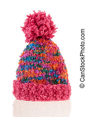 knitted winter bonnet - Pink winter bonnet isolated over...