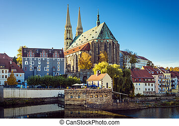 St Peters Church Gorlitz - View to St Peters church, houses,...