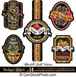 Vintage Labels Black&Gold Version - Set 14 - Vintage Labels...