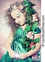 world of magic - Beautiful little fairy among the thickets...