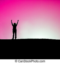 hands up - Woman hands up against the light over dune, Pink...