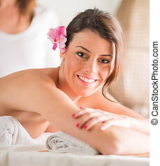 Beautiful Woman Receiving Massage - Attractive Woman Having...