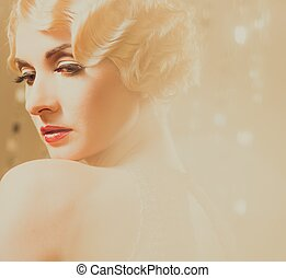 Elegant blond retro woman in golden dress with beautiful...