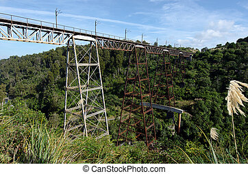 Railway bridge - Makatote viaduct railway bridge 786 m high...