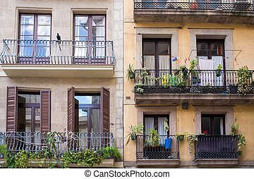 Building facade with beautiful balconies