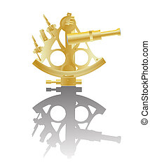 Sextant - Illustration of a golden sextant instrument and...