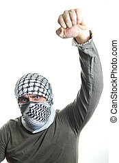 Palestinian protester raises his fist high!