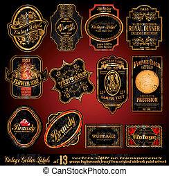 Vintage Labels -- Set 13 - Vintage Labels - 16 Black and...