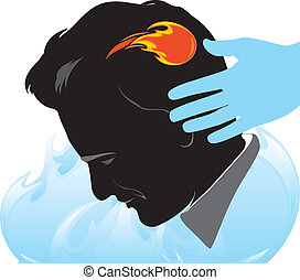 Massage against headache. Vector illustration