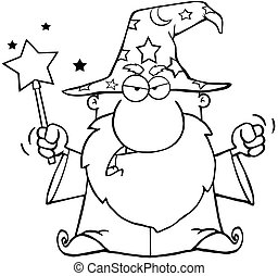 Outlined Angry Wizard Waving With Magic Wand