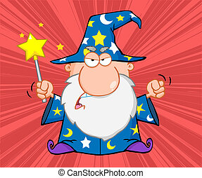 Angry Wizard With Magic Wand