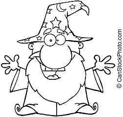 Outlined Wizard With Open Arms - Outlined Friendly Wizard...