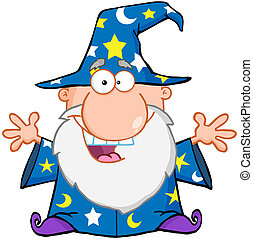 Happy Wizard With Open Arms Cartoon Character