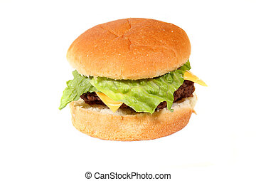 burger with lettuce and cheese isolated on white
