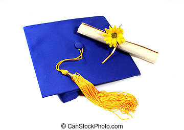 graduation - isolated graduation cap with diploma and flower