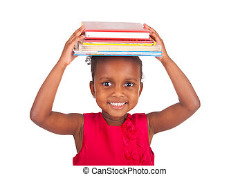 Adorable african little girl with book - Adorable african...