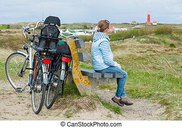Girl with the bike in the park - Cute girl with the bike in...