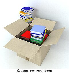 Cardboard box with books on white