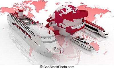 Types of transport for a cruise - Marine liner, yacht and...