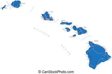 Hawaii map - Highly detailed vector map of Hawaii with...